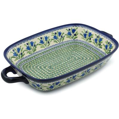 Polish Pottery 19-inch Rectangular Baker with Handles | Boleslawiec Stoneware | Polmedia H4963I