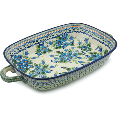 Polish Pottery 19-inch Rectangular Baker with Handles | Boleslawiec Stoneware | Polmedia H4667I
