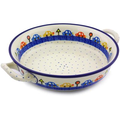 Polish Pottery 10-inch Round Baker with Handles | Boleslawiec Stoneware | Polmedia H5423I