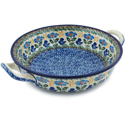 Polish Pottery 10-inch Round Baker with Handles | Boleslawiec Stoneware | Polmedia H4997I