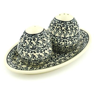 Polish Pottery 7-inch Salt and Pepper Set | Boleslawiec Stoneware | Polmedia H9634G
