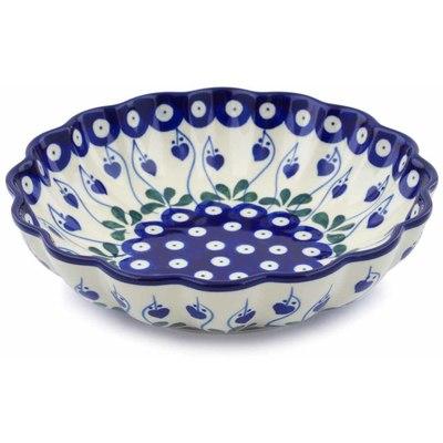 Polish Pottery 7-inch Scalloped Bowl | Boleslawiec Stoneware | Polmedia H0504J