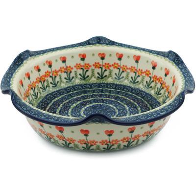 Polish Pottery 10-inch Scalloped Bowl | Boleslawiec Stoneware | Polmedia H7241B