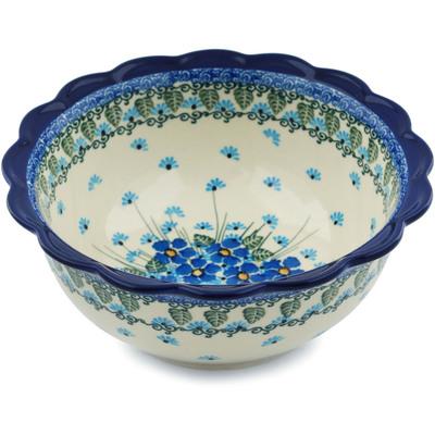 Polish Pottery 8-inch Scalloped Bowl | Boleslawiec Stoneware | Polmedia H0731I