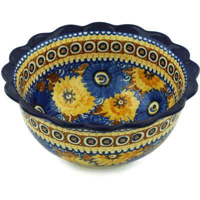 Polish Pottery 9-inch Scalloped Bowl | Boleslawiec Stoneware | Polmedia H1936H