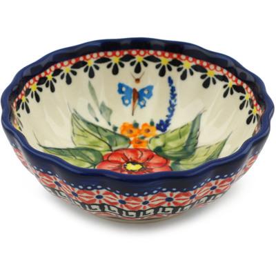 Polish Pottery 5-inch Scalloped Bowl | Boleslawiec Stoneware | Polmedia H3461E