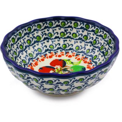 Polish Pottery 5-inch Scalloped Bowl   Boleslawiec Stoneware   Polmedia H8093I