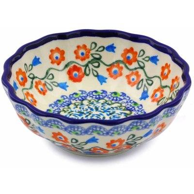 Polish Pottery 5-inch Scalloped Bowl | Boleslawiec Stoneware | Polmedia H8096I