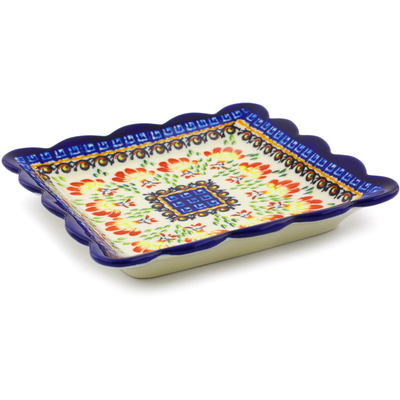 Polish Pottery 6-inch Scalloped Platter | Boleslawiec Stoneware | Polmedia H8123I
