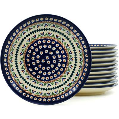 Polish Pottery 7-inch Set of 12 Plates | Boleslawiec Stoneware | Polmedia H5316I