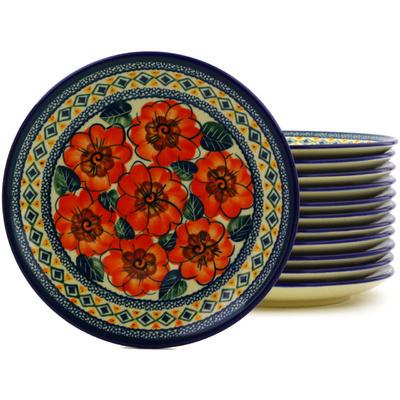 Polish Pottery 7-inch Set of 12 Plates | Boleslawiec Stoneware | Polmedia H8860F