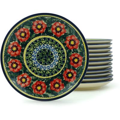 Polish Pottery 7-inch Set of 12 Plates | Boleslawiec Stoneware | Polmedia H2979I