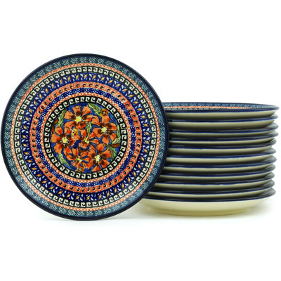 Polish Pottery 7-inch Set of 12 Plates | Boleslawiec Stoneware | Polmedia H7713H