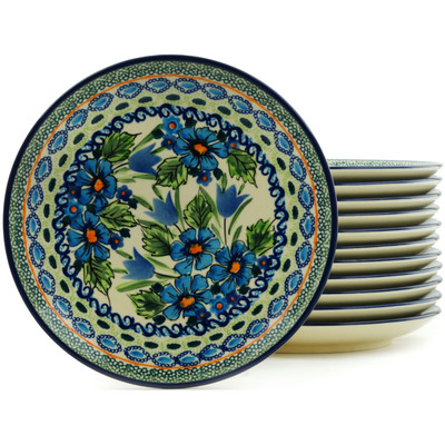 Polish Pottery 7-inch Set of 12 Plates | Boleslawiec Stoneware | Polmedia H5321I