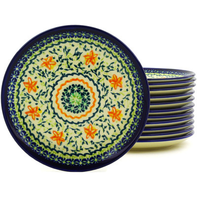 Polish Pottery 7-inch Set of 12 Plates | Boleslawiec Stoneware | Polmedia H8940F