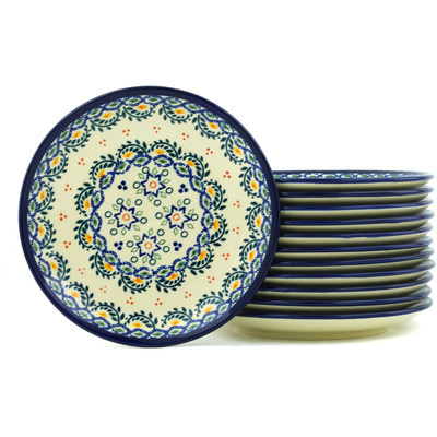 Polish Pottery 7-inch Set of 12 Plates | Boleslawiec Stoneware | Polmedia H7714H