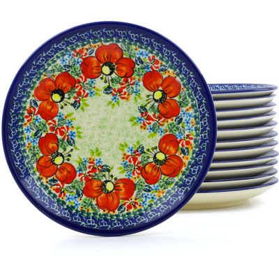 Polish Pottery 7-inch Set of 12 Plates | Boleslawiec Stoneware | Polmedia H0675J