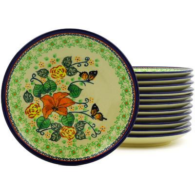 Polish Pottery 7-inch Set of 12 Plates | Boleslawiec Stoneware | Polmedia H8862F
