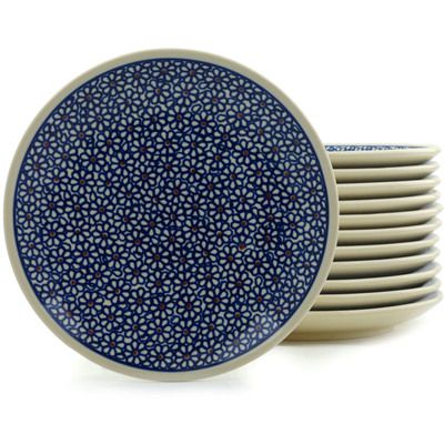 Polish Pottery 7-inch Set of 12 Plates | Boleslawiec Stoneware | Polmedia H5312I