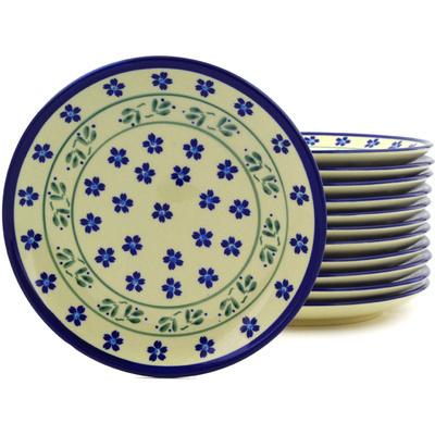 Polish Pottery 7-inch Set of 12 Plates | Boleslawiec Stoneware | Polmedia H8925F