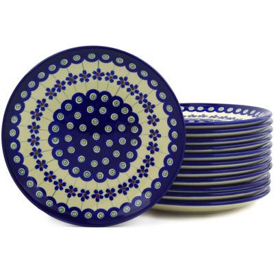 Polish Pottery 7-inch Set of 12 Plates | Boleslawiec Stoneware | Polmedia H6631E
