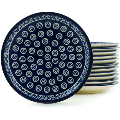 Polish Pottery 7-inch Set of 12 Plates | Boleslawiec Stoneware | Polmedia H5318I