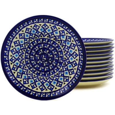 Polish Pottery 7-inch Set of 12 Plates | Boleslawiec Stoneware | Polmedia H8926F