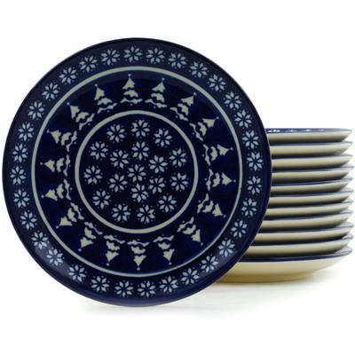 Polish Pottery 7-inch Set of 12 Plates | Boleslawiec Stoneware | Polmedia H5313I