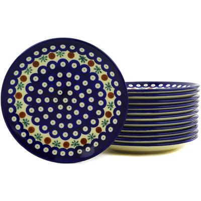 Polish Pottery 7-inch Set of 12 Plates | Boleslawiec Stoneware | Polmedia H6624E