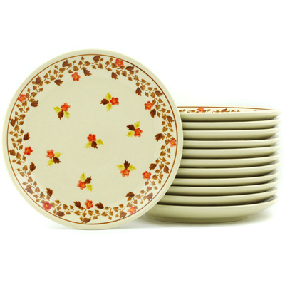 Polish Pottery 7-inch Set of 12 Plates | Boleslawiec Stoneware | Polmedia H7717H