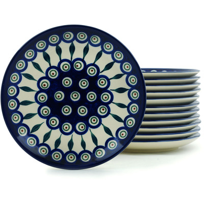 Polish Pottery 7-inch Set of 12 Plates | Boleslawiec Stoneware | Polmedia H5314I
