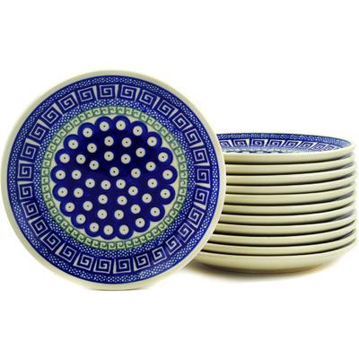 Polish Pottery 7-inch Set of 12 Plates   Boleslawiec Stoneware   Polmedia H2712E