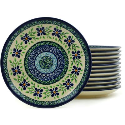 Polish Pottery 7-inch Set of 12 Plates | Boleslawiec Stoneware | Polmedia H5982I