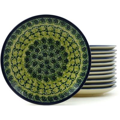 Polish Pottery 7-inch Set of 12 Plates | Boleslawiec Stoneware | Polmedia H5315I