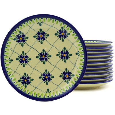 Polish Pottery 7-inch Set of 12 Plates | Boleslawiec Stoneware | Polmedia H8931F