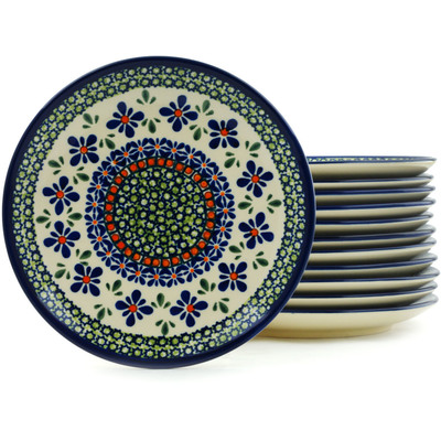 Polish Pottery 7-inch Set of 12 Plates | Boleslawiec Stoneware | Polmedia H5317I