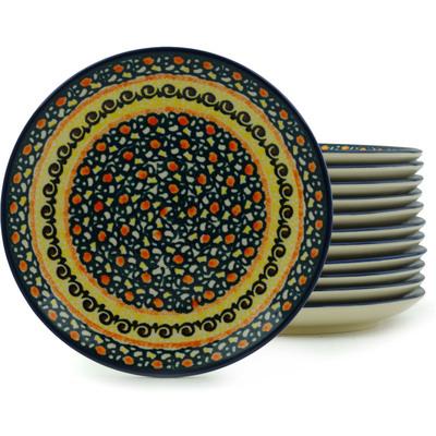 Polish Pottery 7-inch Set of 12 Plates | Boleslawiec Stoneware | Polmedia H2980I