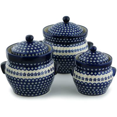 Polish Pottery 10-inch Set of 3 Jars | Boleslawiec Stoneware | Polmedia H5337I