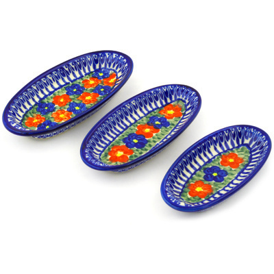 Polish Pottery 7-inch Set of 3 Nesting Condiment Dishes | Boleslawiec Stoneware | Polmedia H9644F