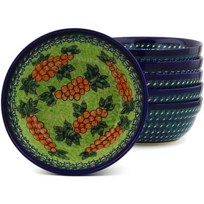 Polish Pottery 7-inch Set of 6 Bowls | Boleslawiec Stoneware | Polmedia H8979F