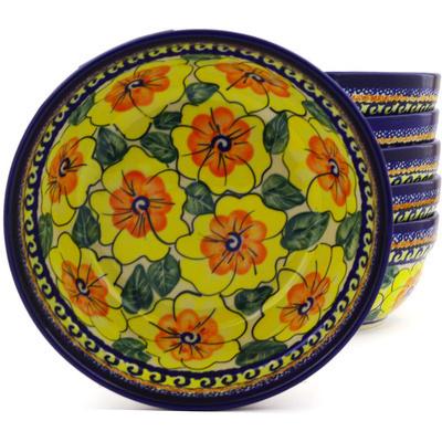 Polish Pottery 7-inch Set of 6 Bowls   Boleslawiec Stoneware   Polmedia H8985F