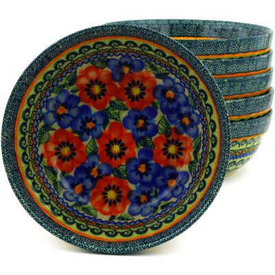 Polish Pottery 7-inch Set of 6 Bowls | Boleslawiec Stoneware | Polmedia H8965F