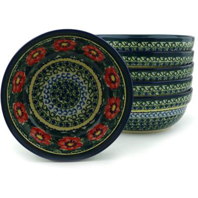 Polish Pottery 7-inch Set of 6 Bowls | Boleslawiec Stoneware | Polmedia H2989I