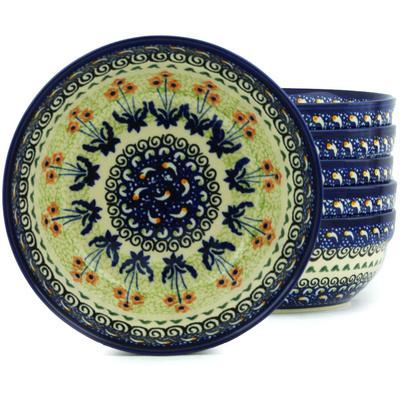Polish Pottery 7-inch Set of 6 Bowls | Boleslawiec Stoneware | Polmedia H7728H