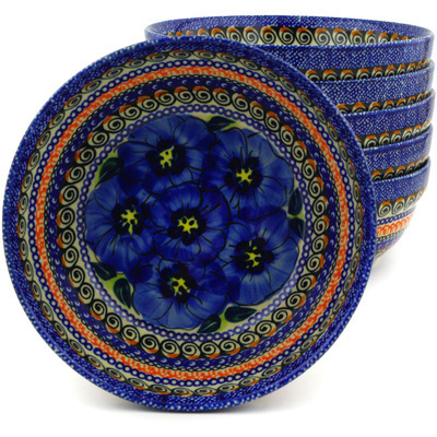 Polish Pottery 7-inch Set of 6 Bowls | Boleslawiec Stoneware | Polmedia H8986F