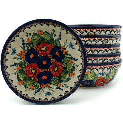 Polish Pottery 7-inch Set of 6 Bowls | Boleslawiec Stoneware | Polmedia H2990I