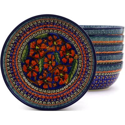 Polish Pottery 7-inch Set of 6 Bowls | Boleslawiec Stoneware | Polmedia H8886F