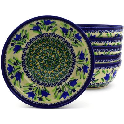 Polish Pottery 7-inch Set of 6 Bowls | Boleslawiec Stoneware | Polmedia H8988F