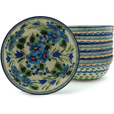 Polish Pottery 7-inch Set of 6 Bowls | Boleslawiec Stoneware | Polmedia H2991I