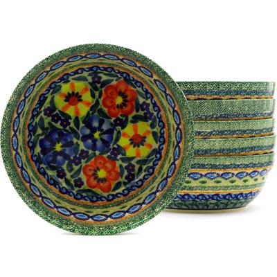 Polish Pottery 7-inch Set of 6 Bowls | Boleslawiec Stoneware | Polmedia H8890F